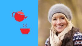 Comment lutter contre le froid : une femme bien vêtue et une théière
