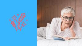 Des livres pour changer sa vie : une femme Senior allongée sur son lit en train de lir